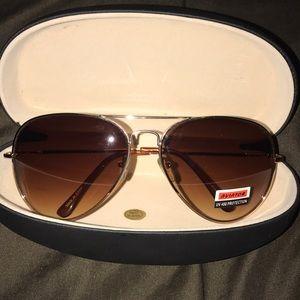 Brand new brown and gold aviator sunglasses
